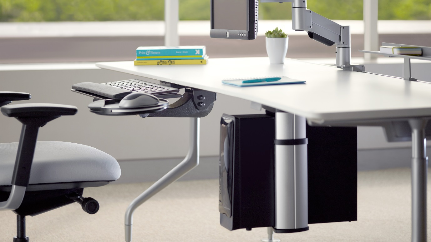 Space Saving office desks with books on