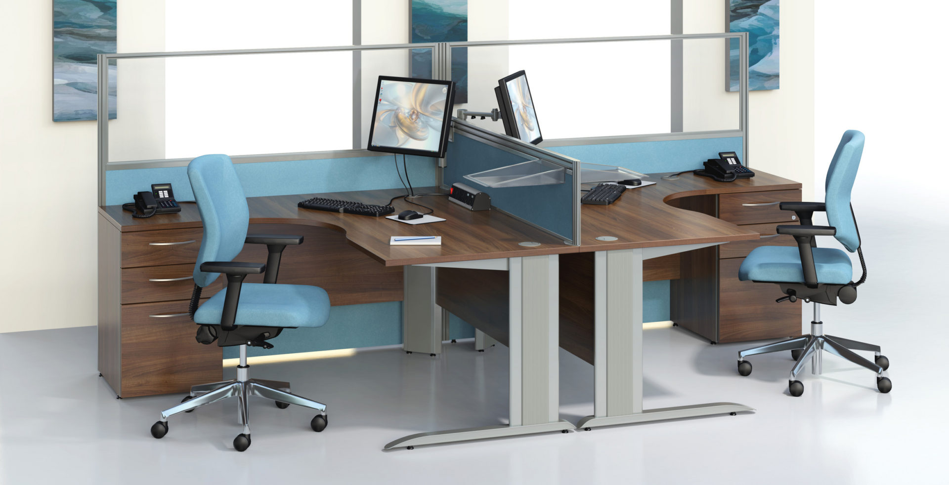 desks facing each other with blue chairs
