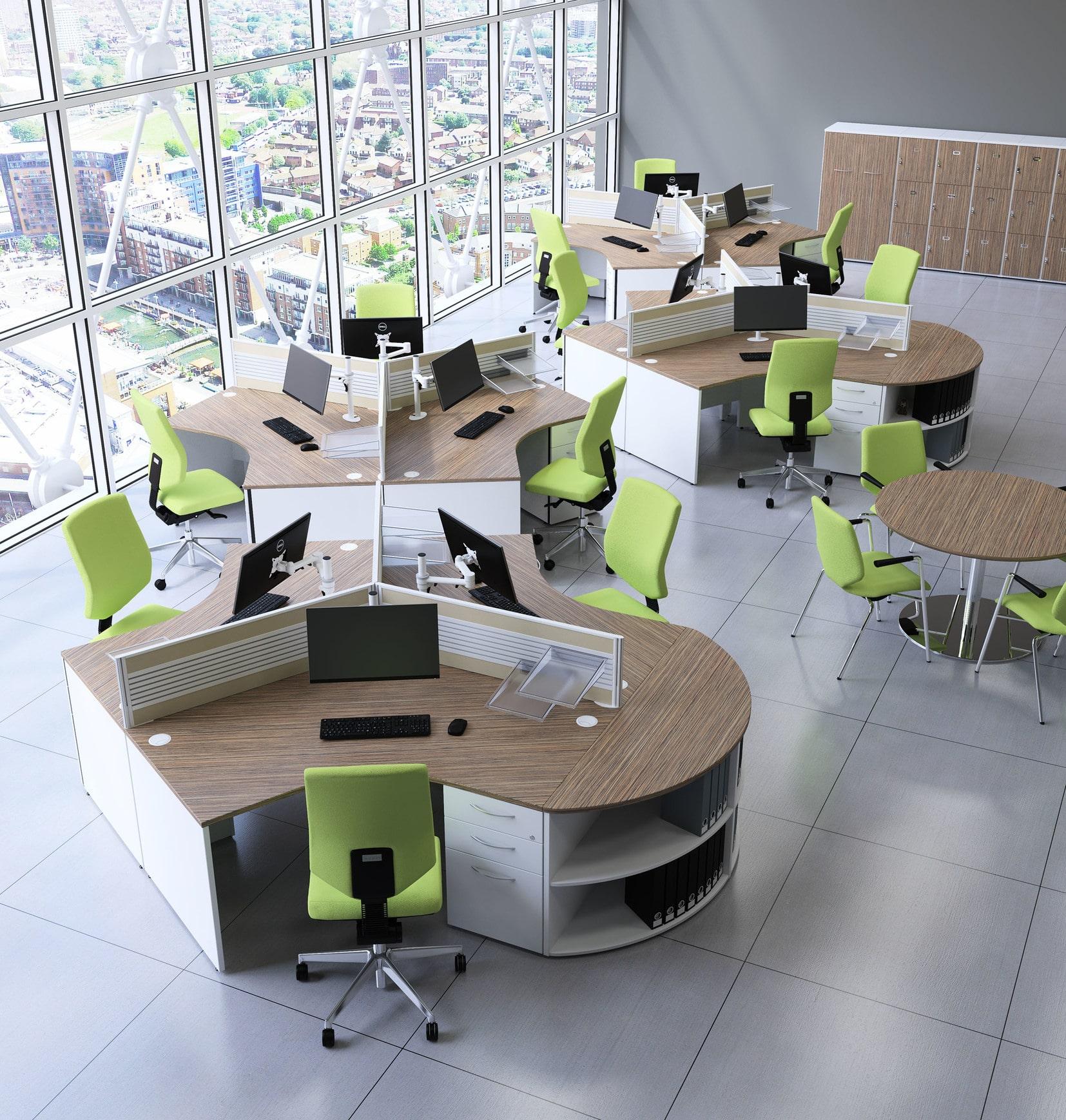 desks in sets of three