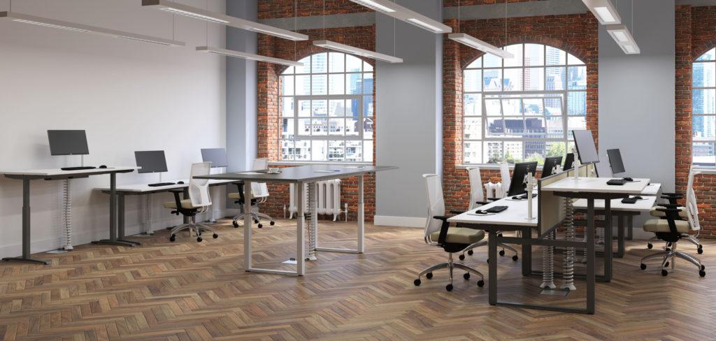 adjustable desk in warehouse office