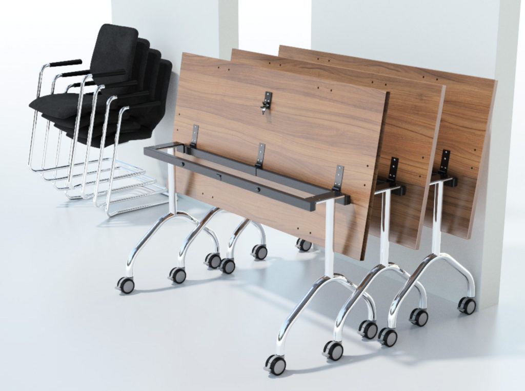 Space saving desk example - Fliptop meeting tables